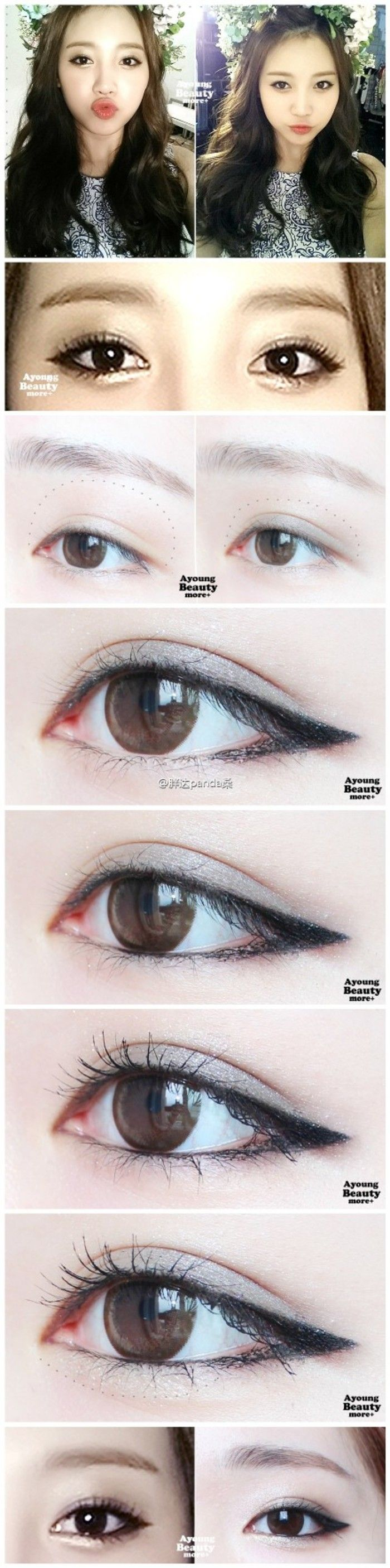 asian make up Try & put some highlighter in very inner corner part & blend out softly then using small rounded brush dab darker brown/black/navy right near the edge of the eyeliner wing in circular motion inward dark brown/black is prob best. Also you can replicate the main eyeliner flick with three or four more drawn shorter end-flicks on top to create a false heavy eyelash look;for very narrow eyes you could also dab a light liquid light reflecting primer/highlighter by brow crease blend…