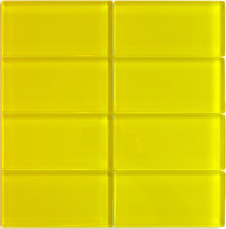 """Lush+3x6+Lemon+-++Yellow+Glass+Subway+Tile+-+Lush+3x6+subway+tile+""""Lemon""""+is+a+fresh+bright+yellow.+This+glass+subway+tile+is+ideal+for+any+wall+application+including+kitchen+backsplash+tile,+bathroom+tile,+fireplace+tile+and+pool+tile.++This+tile+is+easy+to+install+in+wet+areas+as+well+as+dry,+and+it+is+well-suited+for+interior+tile+and+exterior+tile+applications.."""
