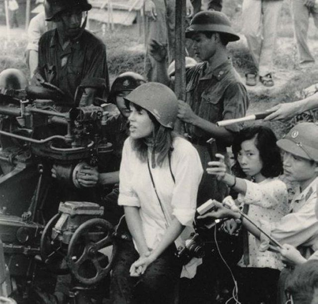 "Actress Jane Fonda sitting on a North Vietnamese anti-aircraft gun during her 1972 visit to the country, as a protest against the Vietnam War. It earned her the nickname ""Hanoi Jane"" in many circles. [941x900]"