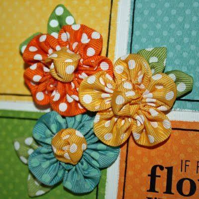 Ribbon Flower Tutorial: Hairbows, Flowers Hair Bows, Polka Dots, Ribbons Flowers Tutorials, Ribbons Tutorials, Bo Bunnies, Flower Tutorial, Fabrics Flowers, Ribbon Flower