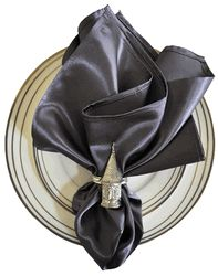 Pewter Satin Napkin Available at www.shirtimeweddings.com