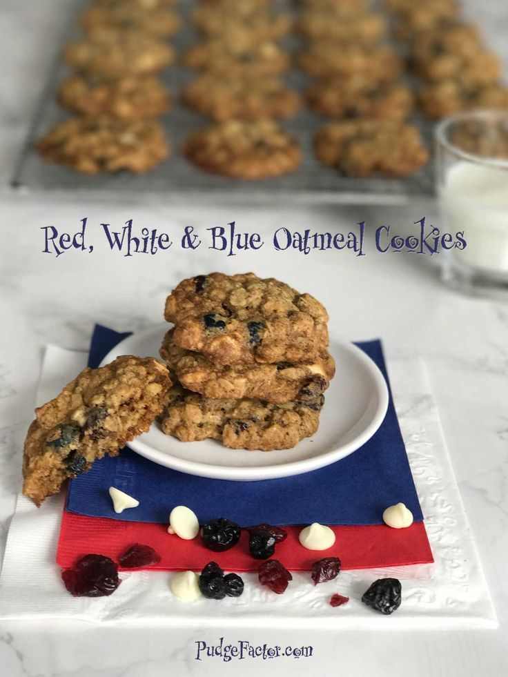 Red, white, and blue oatmeal cookies are a delicious twist on an old favorite. They're chocked full of flavorful morsels, not to mention the healthy oats. via @c2king