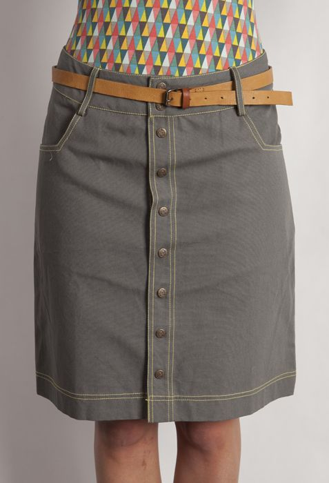 Knee length canvas skirt with pockets contrast topstitching and Boom Shankar press stud detail.WAS $79 SALE PRICE $69