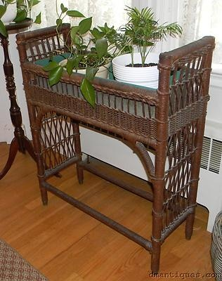 Antique c1890 Victorian Wicker Plant Stand Brass Cap Feet with Metal Pan | eBay