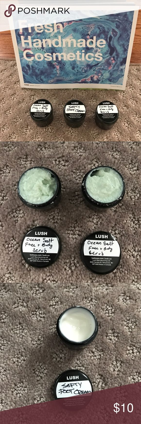 "LUSH Body Cleansers LUSH ""Sample"" Body Cleansers..bundle consist of 2 sample containers of Ocean Salt body and face scrub and 1 sample container of LUSH softy foot cream...never used. Full jars LUSH Makeup"