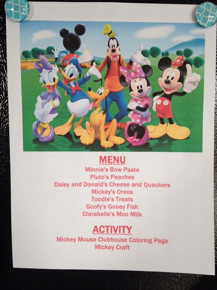Annette Cinema Night Clubhouse Disney Menu Mickey Mouse
