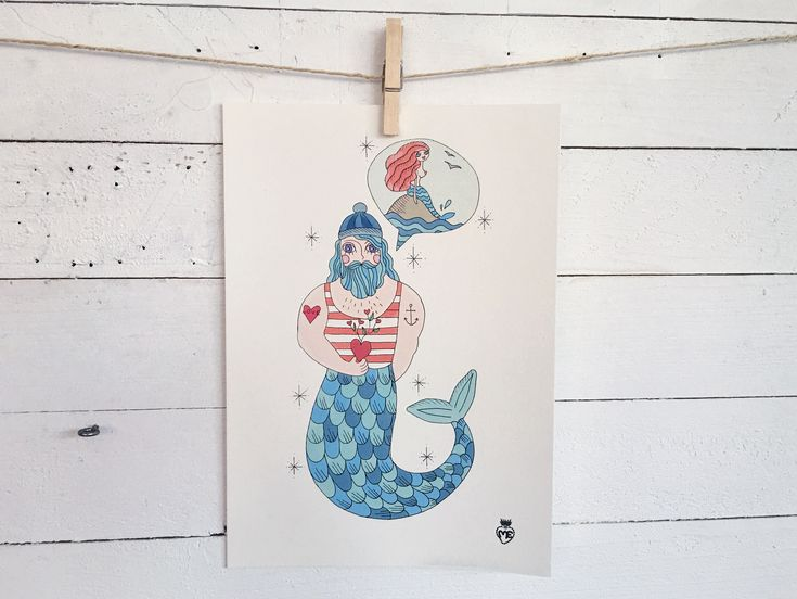 Sailor in love - Sea Cat- A4 Size poster - Digital Print- 10 euro Shipping cost exluded - for info: info@enricamannari.com