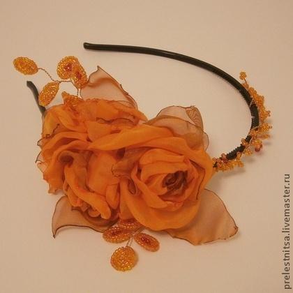 Диадемы, обручи ручной работы. Ярмарка Мастеров - ручная работа Диадема - ободок с цветами. Handmade.
