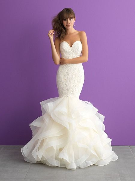 Glam wedding dress idea - mermaid wedding dress with lace bodice and ruffled skirt. Style 3008 by @allurebridals. Find more inspiration by @allurebridals on @weddingwire!
