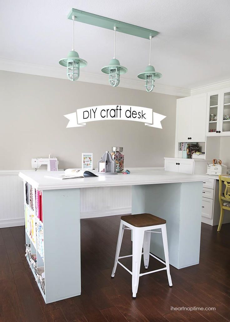 Make your own DIY project desk- love the height and built in storage.