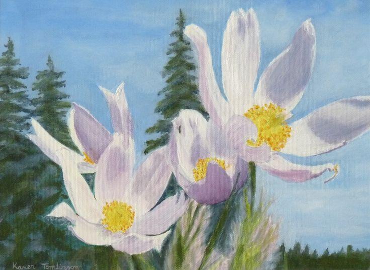 Prairie Crocus. Oil on canvas paper.  Karen Tomlinson