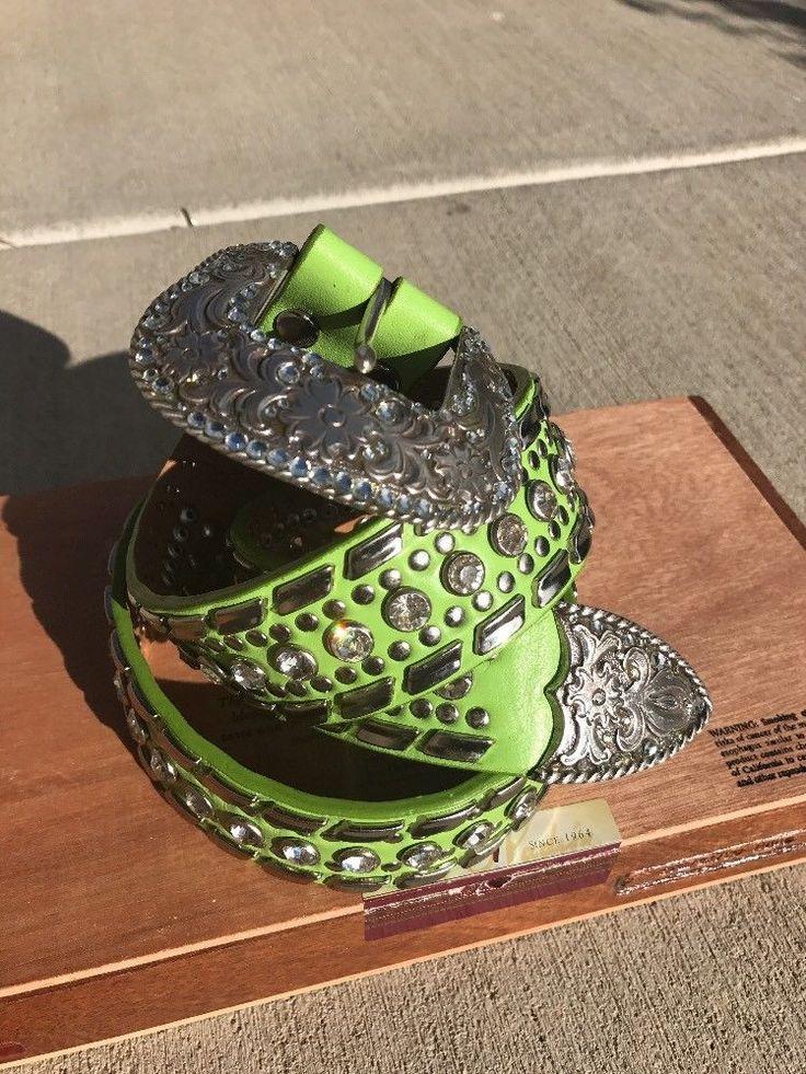 NOCONA Bright Green Leather Belt 1996 Crystals & Rhinestones M Cowgirl Chic  | eBay