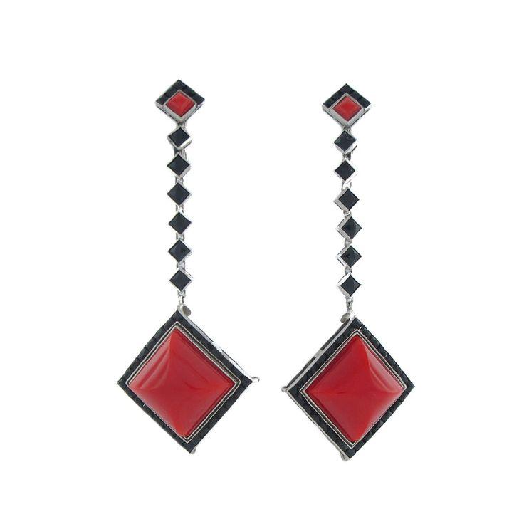 Cartier Art Deco Coral Onyx Platinum Earrings