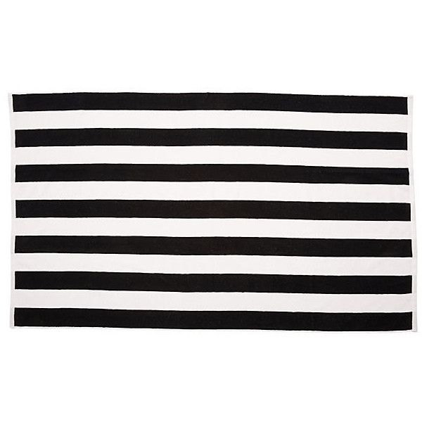 Cabana-Stripe Beach Towel Black Beach Towels ($25) ❤ liked on Polyvore featuring home, bed & bath, bath, beach towels, striped beach towels, black beach towel, black and white stripe beach towel, oversized beach towels and cabana stripe beach towels