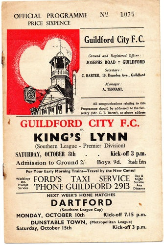 Away to Guildford City FC  8/10/1960  Southern League