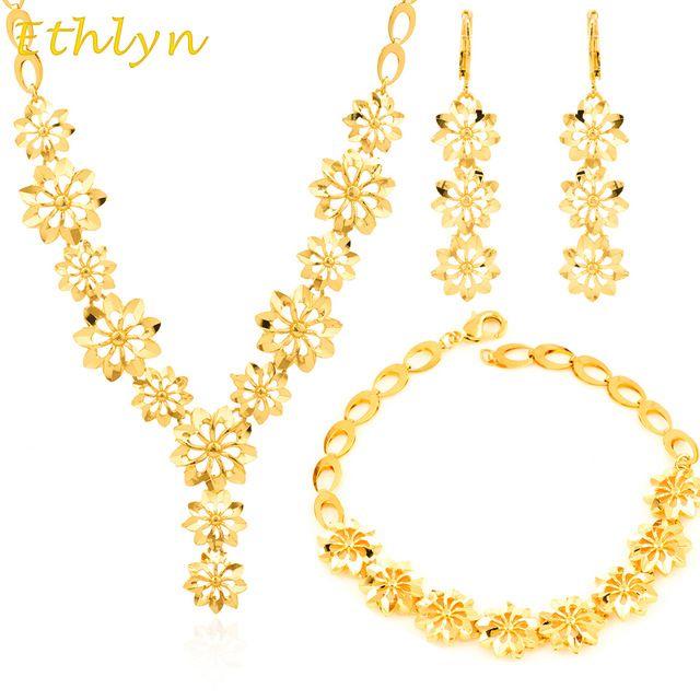Ethlyn Banhado A Ouro conjunto de Jóias 18 k banhado a ouro Flor forma conjunto de jóias Nigéria/Etíope/África Mulheres festival presente S008