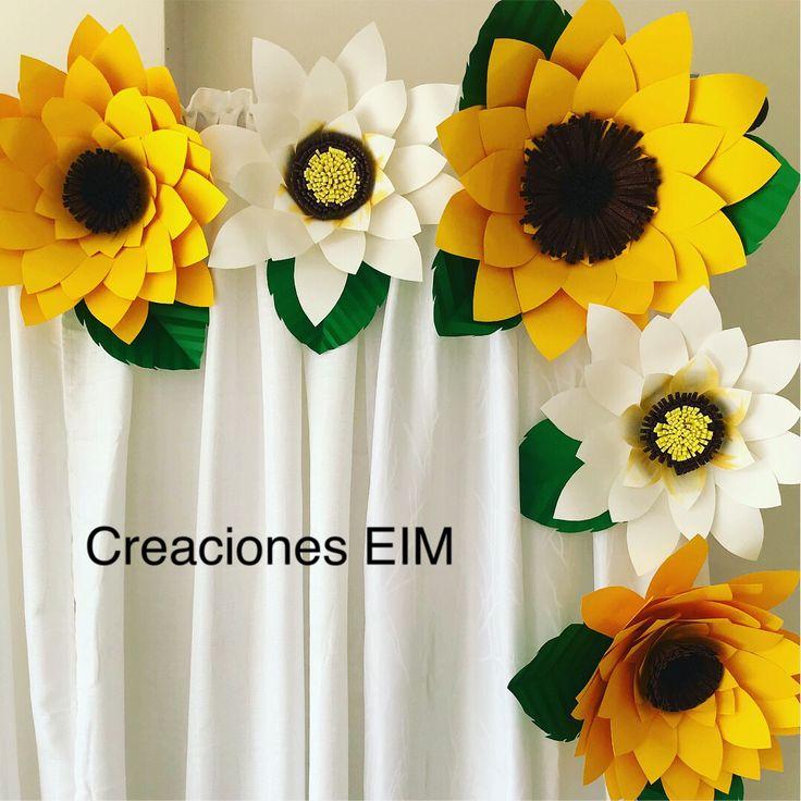 decoraci u00f3n y flores grandes en papel  girasoles en