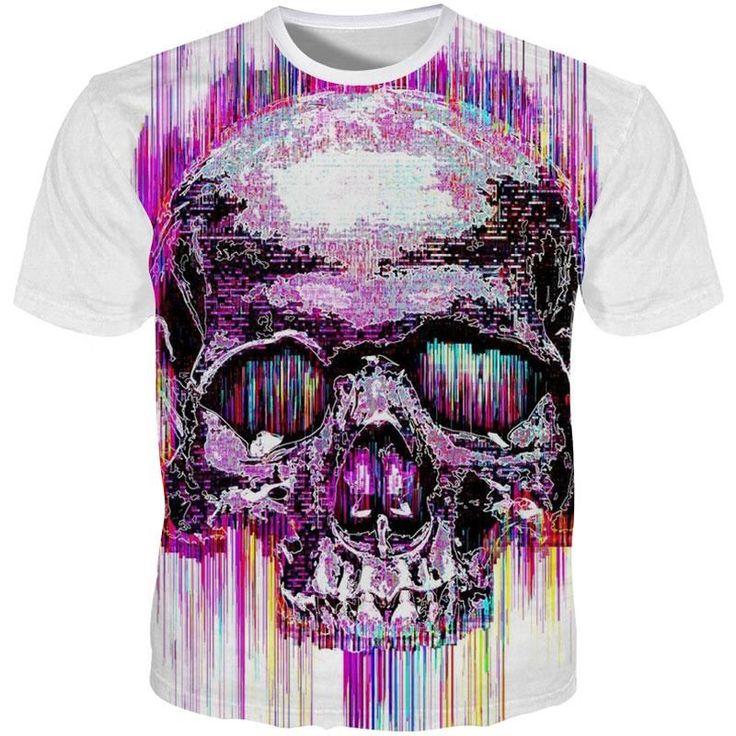cool tshirt imprimé de crâne coloré hip hop fashion