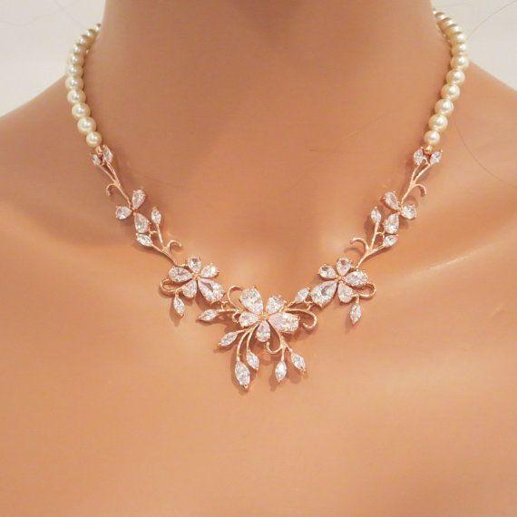 Rose Gold Bridal Necklace Set Rose Gold Wedding By