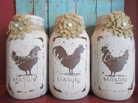 Set of 3 Rustic  Chicken and Rooster HandPainted Mason Jars with Flowers