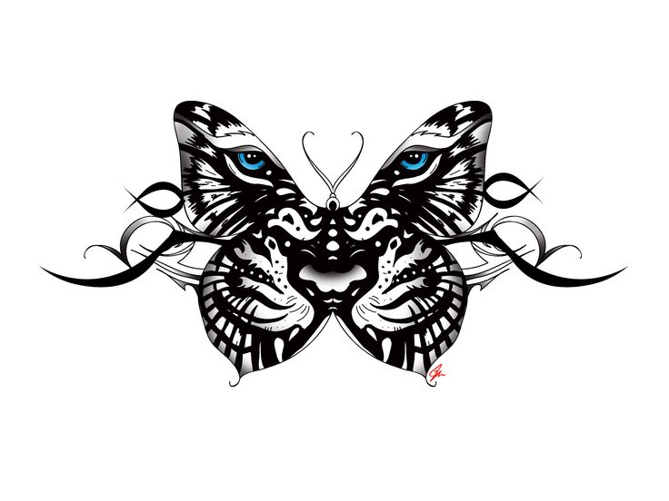 white Tiger Butterfly tattoo with tribal accent. Back tattoo female blue eyes. By JM