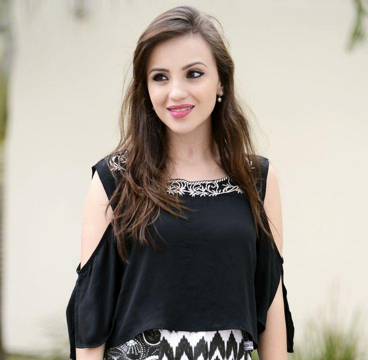 look saia midi blusa soltinha p&b (1)