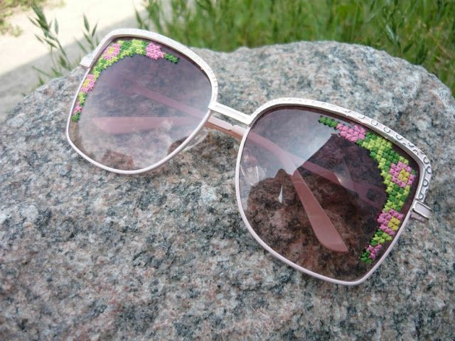 Embroidered Sunglasses DIY cross stitch sunglasses #crossstitch #tutorial #embroidery