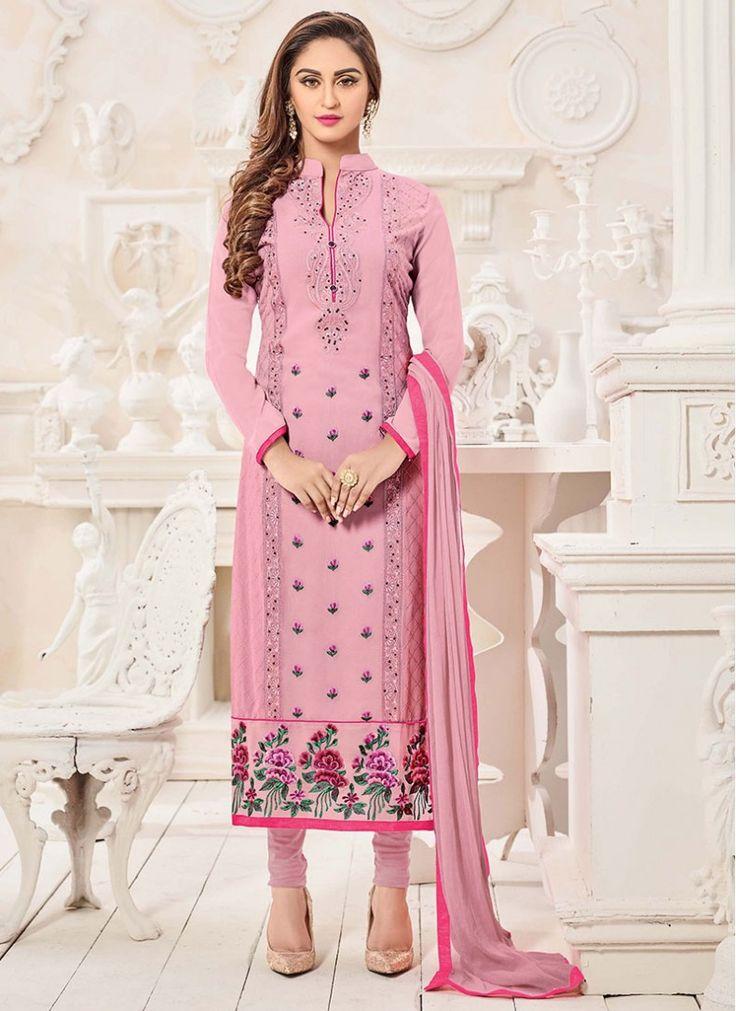 Riveting Embroidered Sentoon Pink Churidar Designer Suit