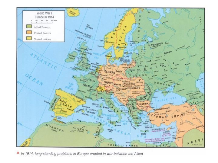 1914 Political Map of Europe was the map before WWI began. The Allied Powers were France, England, America, and Russia labeled as Green. The Central Powers were Austria-Hungary, Germany, and the Ottoman Empire labeled as Orange. The Neutral Powers remained neutral throughout the war and had no involvement in WWI they were Spain, The Netherlands, Belgium, Norway, Sweden, and Switzerland their labeled as yellow.