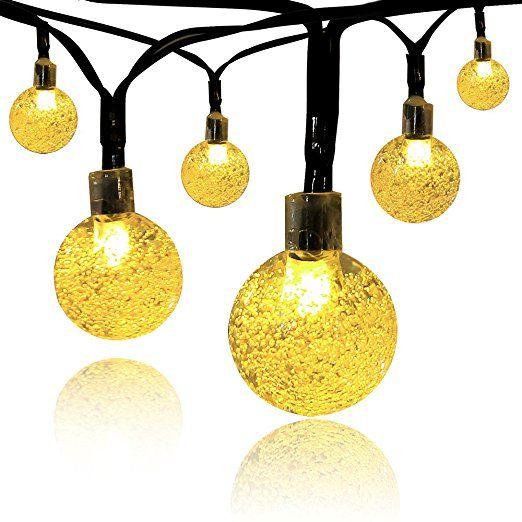 Innoo Tech-Lampada per esterni a energia solare, 30 luci a LED bianco caldo 6,00 Meters sfera di cristallo, motivo natalizio, luci da giardino, sentiero e Party, per la decorazione di camere da letto