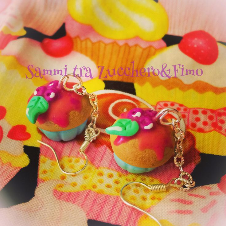 Orecchini cupcakes earrings fimo polymer clay handmade