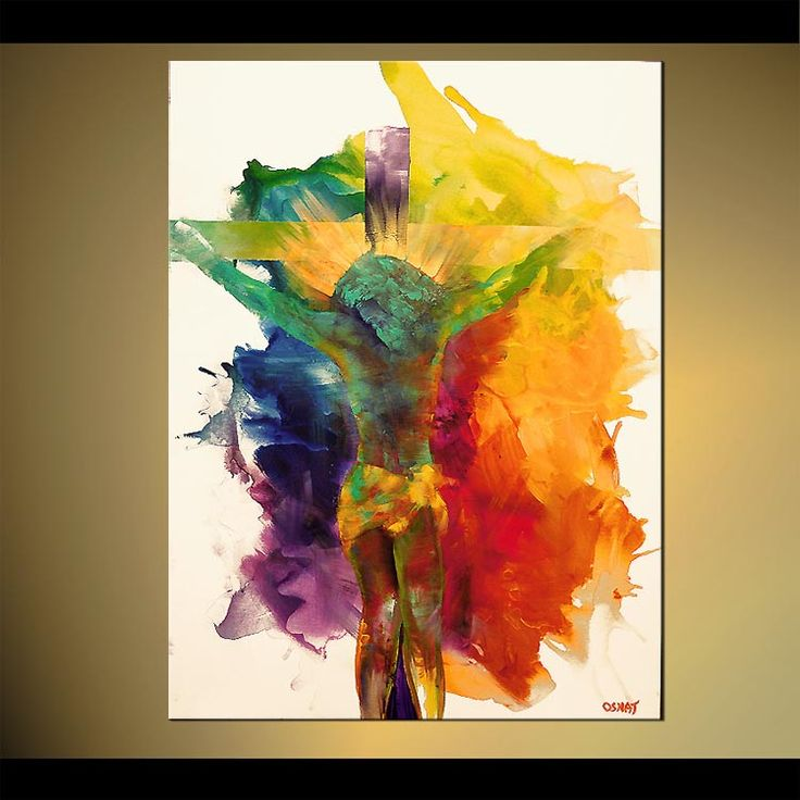 Original abstract art paintings by Osnat - colorful jesus painting