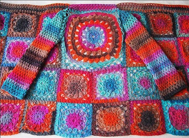 A photo tutorial of an amazing crochet cardigan made out of flower squares!