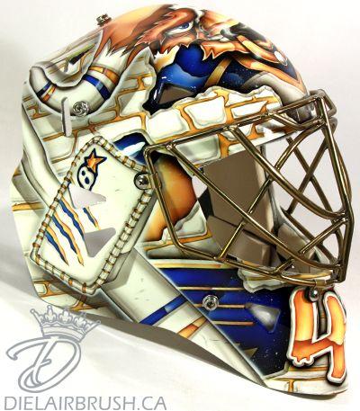 Jaroslav Halak 2013-14 St. Louis Blues mask right