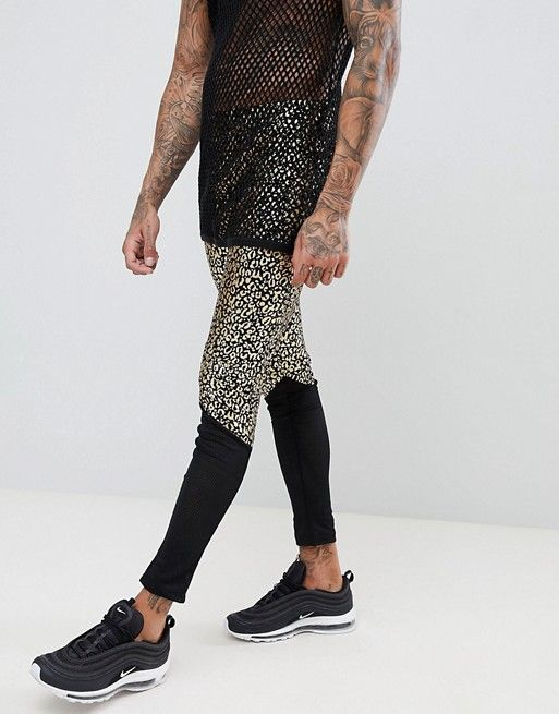 d504f5736 ASOS DESIGN festival meggings with leopard print and mesh panel