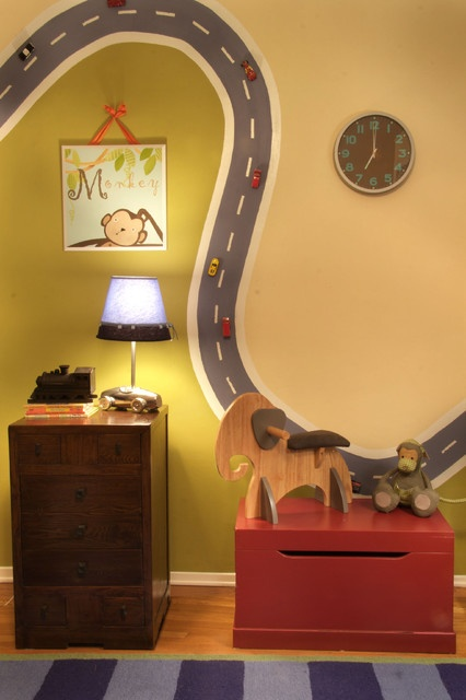 "Nursery eclectic kids.  Magnetic Paint ""road"" painted on wall, cars with magnets added to track!"