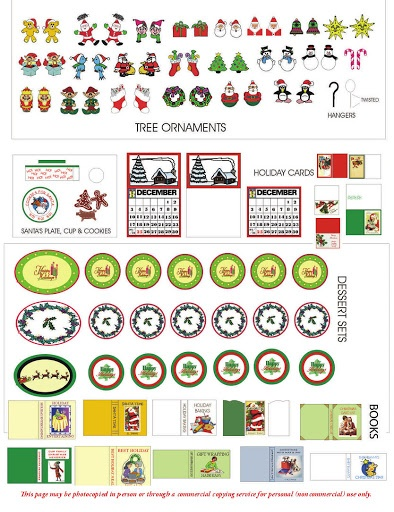 A nice set of Christmas printables - especially Christmas plates (link reveals more than a dozen sheets of printies) | Source: Dolls House Printables at Picasa