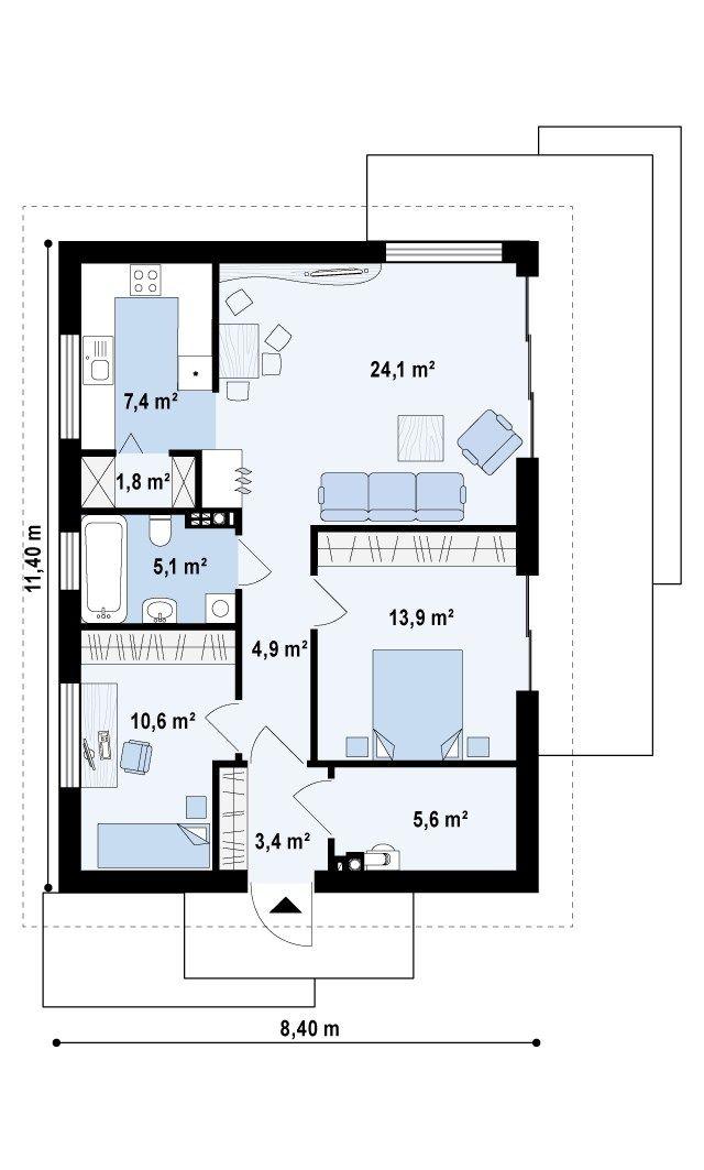 Проект дома :: Z254. Одноэтажный дом с двумя спальнями и просторной гостиной :: Строительная компания Ультра Эс