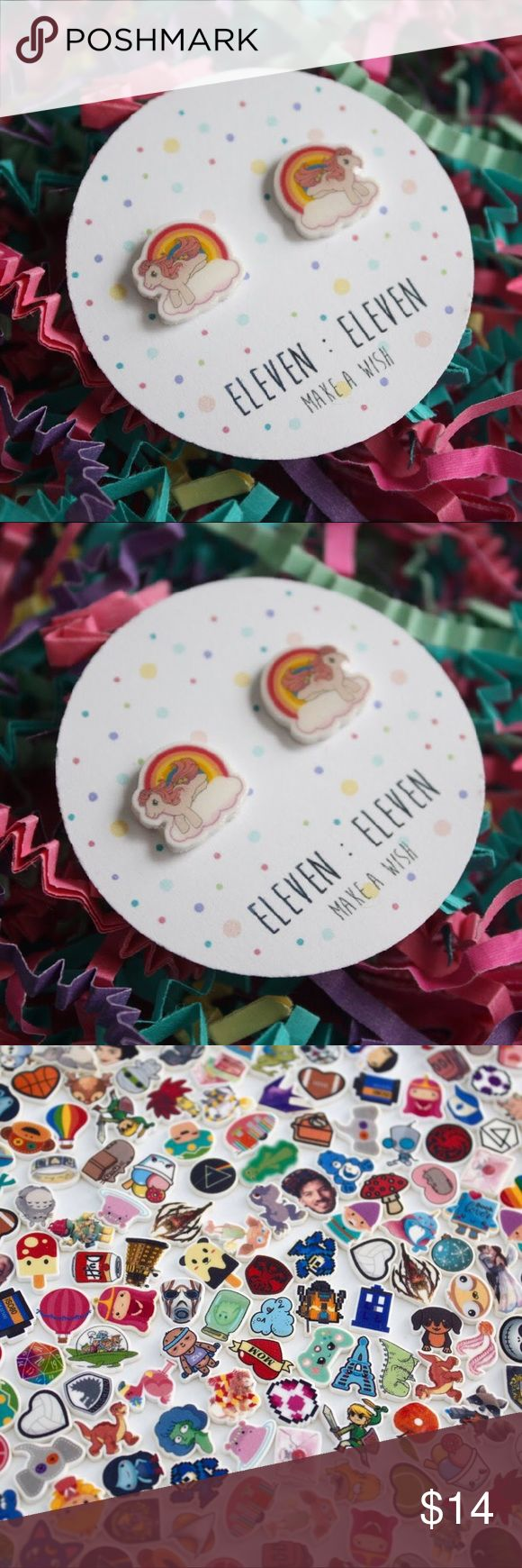 Rainbow My Little Pony Classic Cartoon Studs Hello & Welcome to my shop, Eleven Dot Dot Eleven! Everything is handmade by me!   🍄 This listing is for 1 Pair of MLP Stud Post Earrings! ⭐️  Silver Plated Nickel Free Posts I also have 100% hard plastic posts for super sensitive ears available upon request!   All earrings are made of a hard plastic type material. They are sealed with a clear gloss resin to make them waterproof and long lasting!   I am currently selling stock - I will not be…
