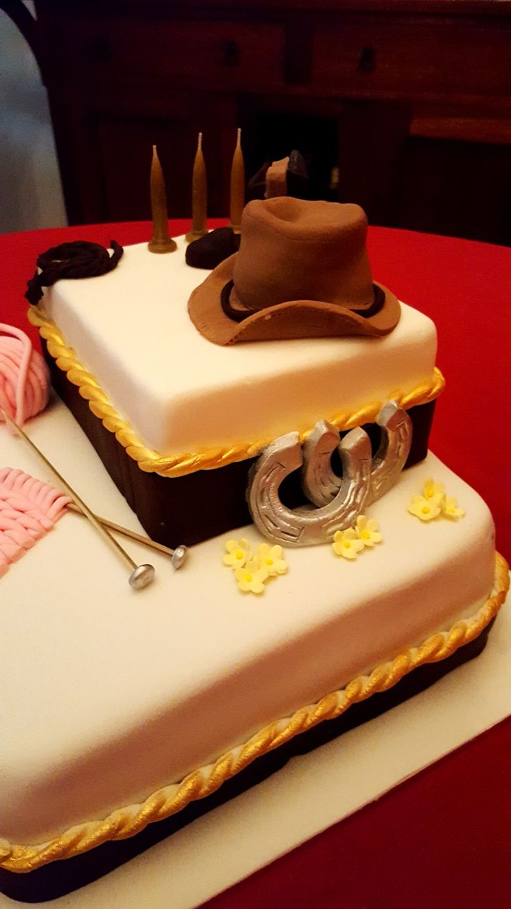 Western themed 60th cake with knitting