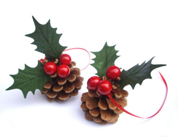 Black friday Pinecone Ornament red Christmas holly barry Christmas ...