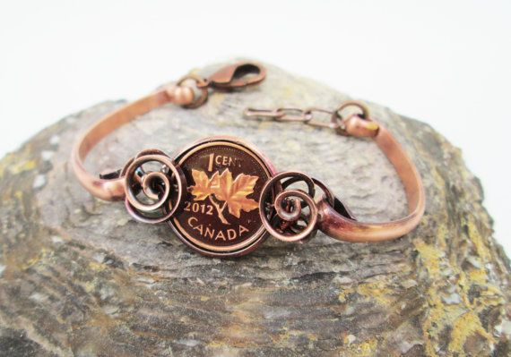 Customizable Canadian Penny Wrapped Cuff by TheTimaCollection