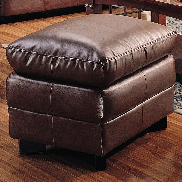 harper brown overstuffed leather ottoman by coaster - Brown Leather Ottoman
