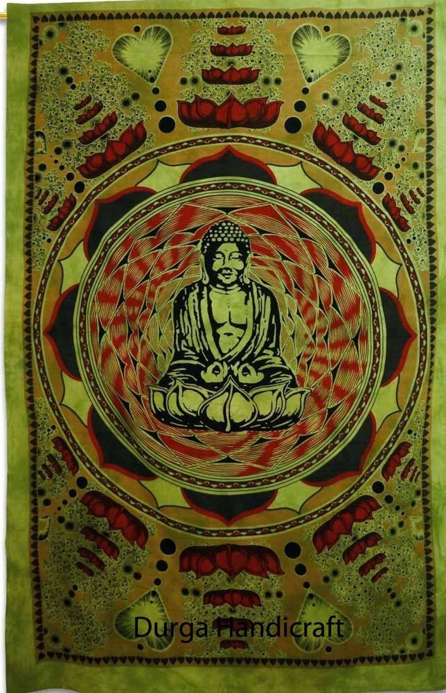 Indian Twin Tapestry Meditation Buddha Wall Hanging Bedspread Bed Cover Ethnic #Handmade #ArtDecoStyle