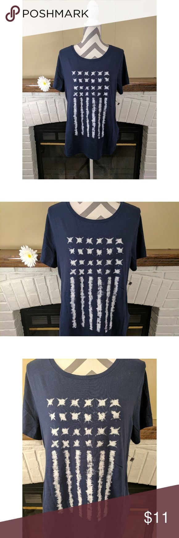 """EveryWear Americana Tee NWT EveryWear Americana Tee with a blue and white flag pattern  - Rib-knit crew neck - Short sleeves - Tag-free for added comfort - Soft, medium-weight jersey - 100% cotton - Measurements laying flat @ bust: 20""""; length: 26"""" - Machine wash  🚭 Smoke free home Old Navy Tops Tees - Short Sleeve"""
