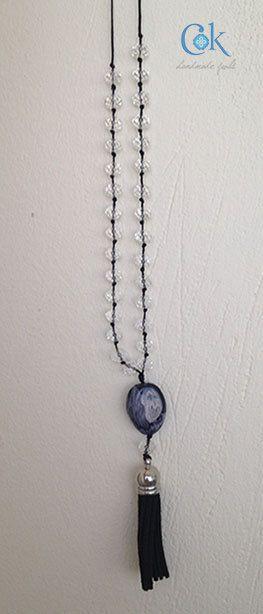 Crystal black tassel long adjustable necklace