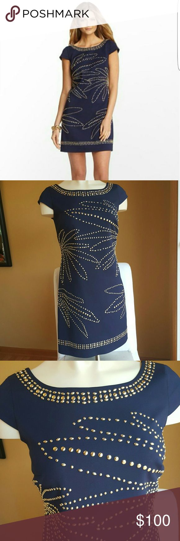 """TAKE 20% OFF!❤ *LILLY PULITZER DRESS*❤ SALE! TAKE 20% OFF LISTED PRICE! ALL LILLY! """"Stud Muffin"""" Lilly Pulitzer dress  Impeccable, like new condition- worn once  Navy with gold studs Size 4,  Cotton/nylon/spandex blend Inner lining Lilly Pulitzer Dresses Midi"""