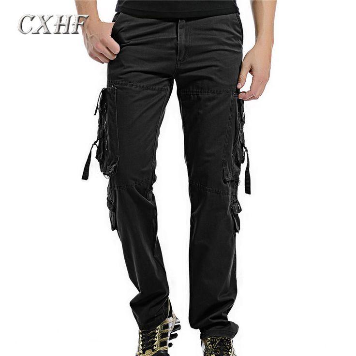 2017 New Design Casual Men pants spring/autumn Cotton Cargo pants for Men Fashion pockets decoration trousers Male Plus Size 38