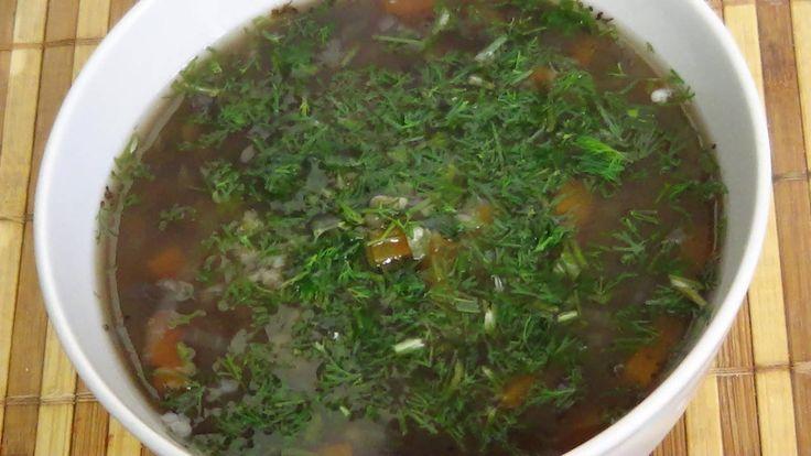 Постный суп из чечевицы и булгура.