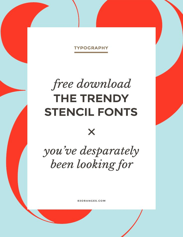 Free Download ~ The Trendy Stencil Fonts You've Deparately Been Looking For Lately lots of designers are using beautiful bold stencil style fonts in stylish logo concepts and presentations. Here are my favorite with free download links. #design #graphicdesign #graphicdesigner #logodesign #webdesign #illustration #art via http://83oranges.com